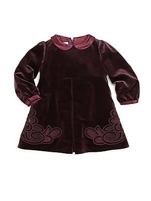 gucci female 123826 babys embroidered velvet dress