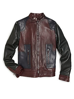 Boy's Zip-Front Leather Jacket