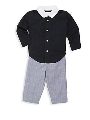 Baby's Two-Piece Cotton Plaid Top & Pants Set
