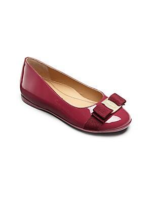 Girl's Varina Mini Patent Leather Bow Ballet Flats