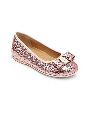 Toddler's & Girl's Mini Glitter Bow Ballet Flats