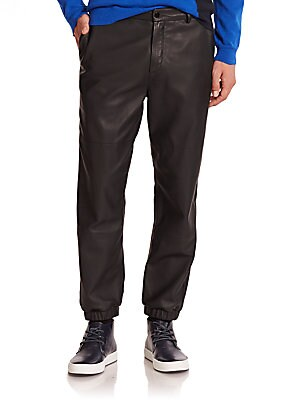 Contrast Paneled Leather Pants