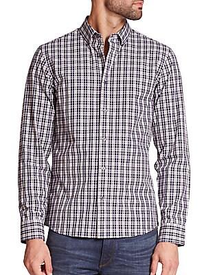 michael kors 236621 grant tailored plaid shirt