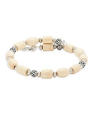 Blonde Wood & Metal Beads Bracelet