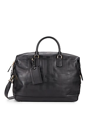Check Embossed Leather Duffle Bag