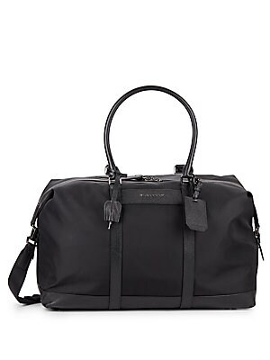 Saffiano Leather-Trimmed Duffle Bag