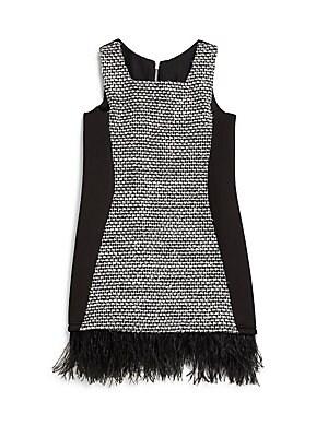 Girl's Feather-Trim Bouclé & Ponte Shift Dress