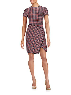 Plaid Faux-Wrap Dress