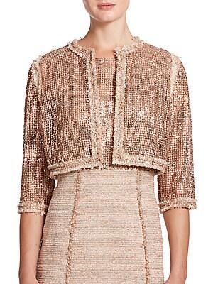 Embellished Tweed-Trim Jacket