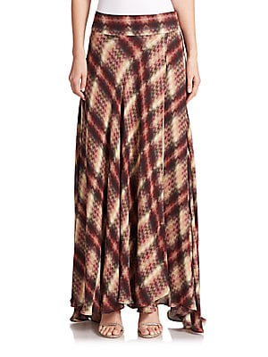 Chevron Plaid Silk Maxi Skirt
