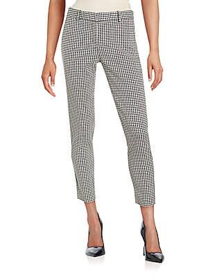 Cotton Blend Plaid Cropped Pants