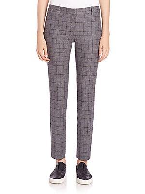 Treeca Plaid Stretch-Wool Pants