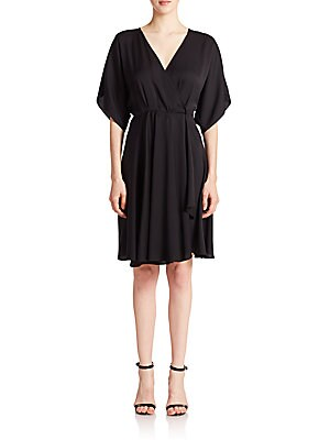 Stretch-Silk Kimono Wrap Dress