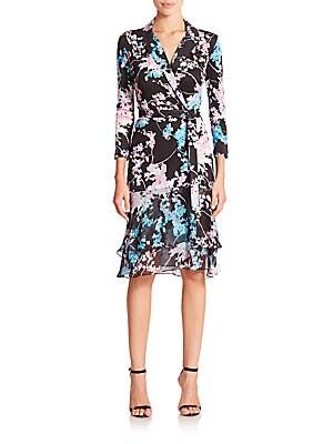 Cathy Printed Silk Wrap Dress