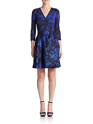 Valerie Printed Wool & Silk Wrap Dress