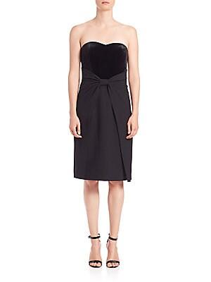 Strapless Velvet & Crepe Bow Dress