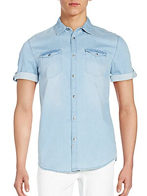 Roll-Tab Chambray Shirt