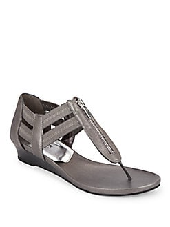 Metallic Zip-Trim Sandals