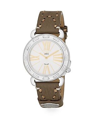 Selleria Stainless Steel & Leather Strap Watch