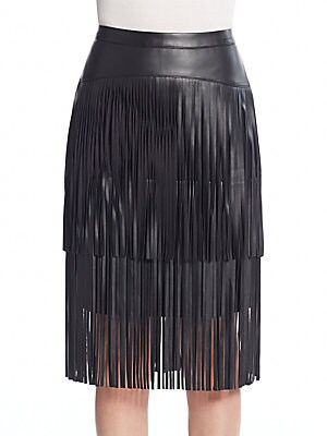 Fringed Pencil Skirt