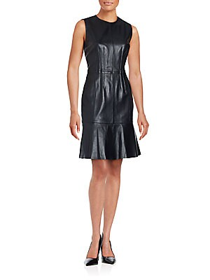 Syssy Black Leather Dress