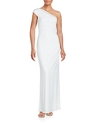 Solid One-Shoulder Gown