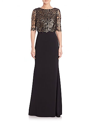 Lace Popover-Detail Gown