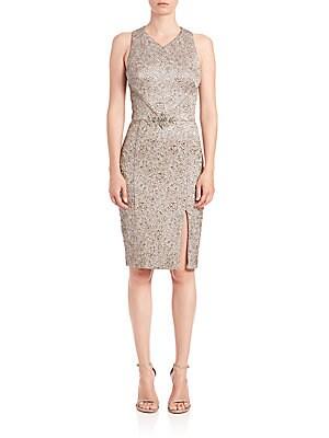 Brocade Beaded-Belt Dress
