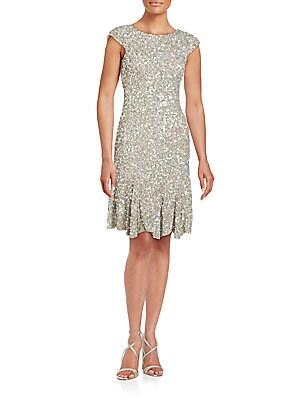Sequined Jewel Neck Dress