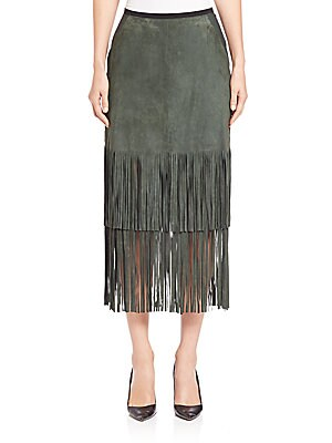 Charlotte Fringed Suede Midi Skirt