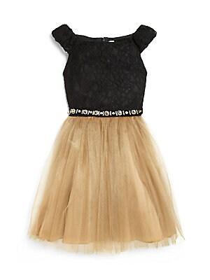Girl's Lace & Bronze Net Dress