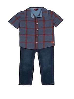 Baby's Plaid Short Sleeve Shirt & Jeans Set