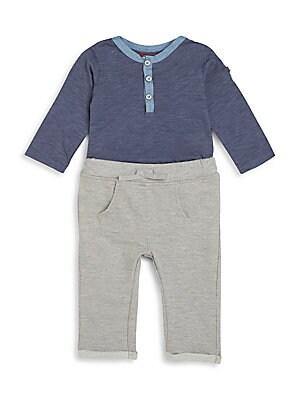 Baby's Three-Piece Long-Sleeve Henley Bodysuit, Striped Bodysuit & Jogger Pants Set