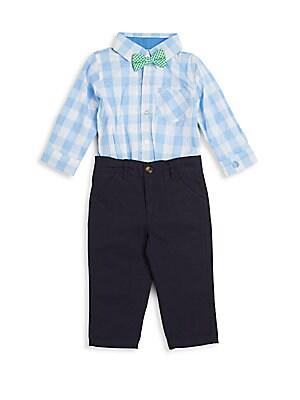 Baby's Plaid Shirt Bodysuit, Bow Tie & Pants Set