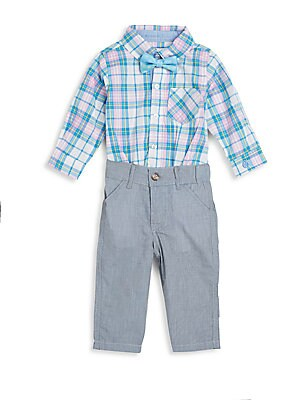 Baby's Gingham Shirt Bodysuit, Bow Tie & Pants Set