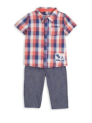 Baby's Plaid Shirt & Pants Set