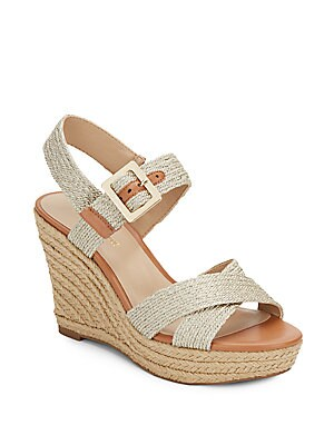 saks fifth avenue female shaine metallic braided wedge sandals