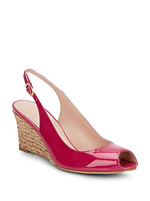 Slinky Patent Leather Peep Toe Wedges