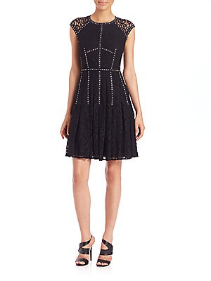Embellished Lace Fit-And-Flare Dress