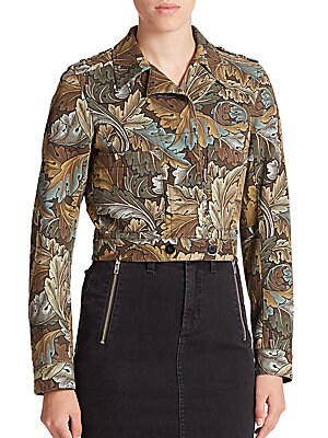 marc jacobs female mini printed military jacket