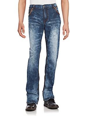 Straight-Leg Faded Denim Jeans