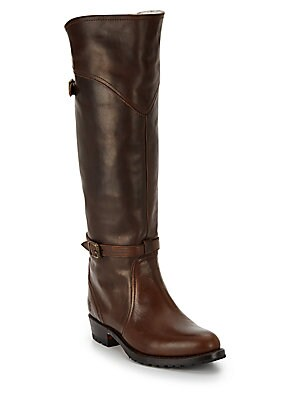 Dorado Lug Rabbit Fur-Lined Leather Boots