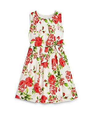 Little Girl's & Girl's Rose Print Dress