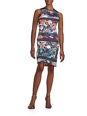 Floral-Print Neoprene Dress