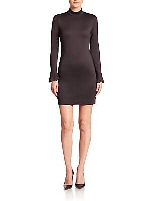 Laser-Cut Mockneck Dress