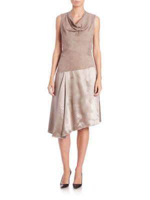 Nia Suede & Silk Dress