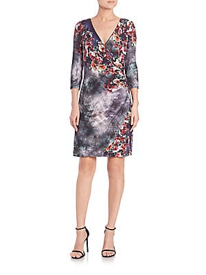 Printed Faux Wrap Jersey Dress