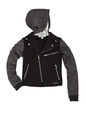 Girl's Chelsea Ponte & Sparkle French Terry Moto Jacket