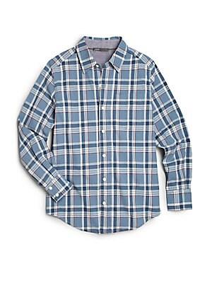Boy's Plaid Utility Button-Down Shirt