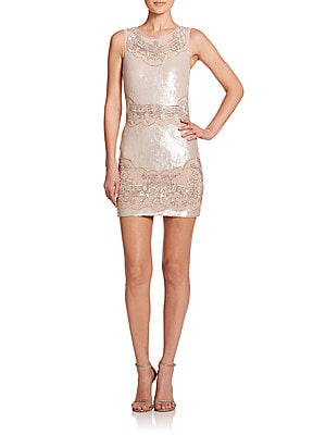 Beaded Sequin Sheath Dress
